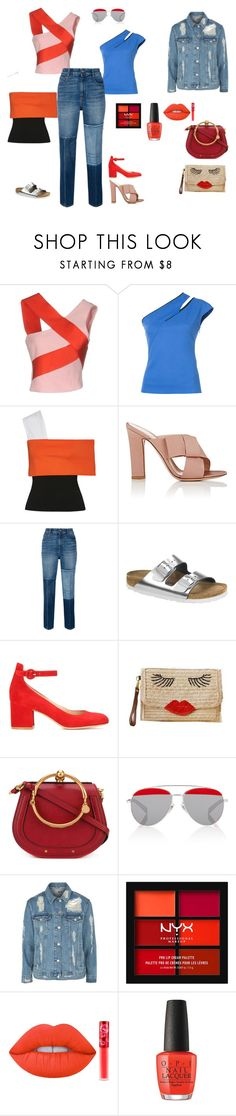 """Топ с открытым плечом"" by arhidea2009 ❤ liked on Polyvore featuring Versace, Thierry Mugler, Rosetta Getty, Gianvito Rossi, STELLA McCARTNEY, Birkenstock, Chloé, Alain Mikli, Topshop and NYX"