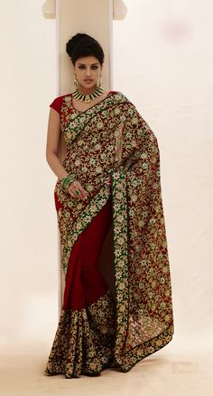 USD 75.27 Maroon Patch Work Faux Georgette Bridal Saree  32460