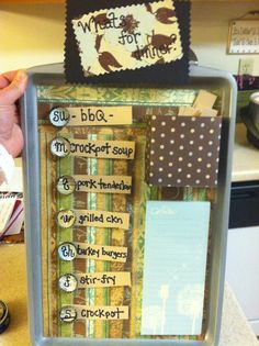 Magnetic weekly dinner schedule.. i added a memo pad for a grocery list :o)  http://crazyadventuresinparenting.com/2012/02/diy-weekly-menu-board.html  #DIY #Crafts #Organize