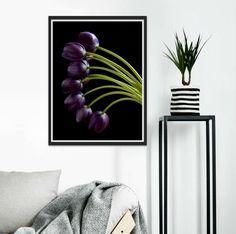 Purple Tulip Photography Print ~ Moody Floral Wall Art ~ Still Life Flower Artwork ~ Dark & Dramatic Living Room Decor ~ Botanical Picture Purple Wall Decor, Purple Walls, Life Flower, Feather Photography, Purple Tulips, Flower Artwork, Floral Wall Art, Photo Colour, Living Room Decor