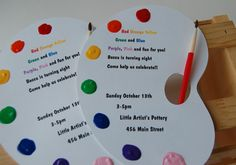 Little Artist Birthday Party Invitation: Etsy. These are so darn cute. :) Love an art theme.the activities are endless and fun! Artist Birthday Party, 9th Birthday Parties, Birthday Ideas, Kids Art Party, Craft Party, Art Party Invitations, Birthday Invitations, Art Themed Party, Paint Party
