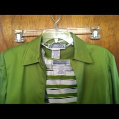 Three piece pants suit. She'll, blazer, and pants Green white and black pants suit used for pageant interview but could be used for church or business wear Pants