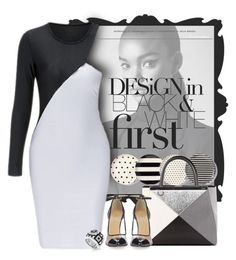 """""""Black & White"""" by mellapr ❤ liked on Polyvore featuring Trilogy, Kate Spade, Fendi, Belle Etoile, blackandwhite and contestentry"""