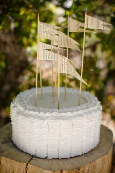 Easy DIY flag cake toppers using book pages