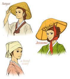 Normal Hats For Commonplace Women by Glimja # korean Hairstyles deviantart Korean Hanbok, Korean Dress, Korean Outfits, Korean Traditional Dress, Traditional Fashion, Traditional Outfits, Historical Costume, Historical Clothing, Korean Products