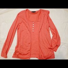 "Bright peach casual top Casual long sleeved summer/fall Cami/top that can also be worn 3/4 sleeve. Sleeves are 23"" from shoulder and the top measures 25 1/4"" long from back neckline.  Buttons on front are for style only. Top is bright peach color. Only wore once. No stains. Style & Co Tops Tees - Long Sleeve"
