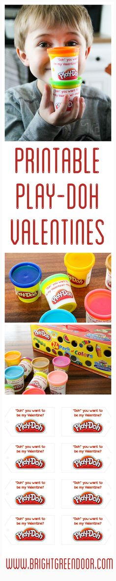These Play-Doh Valentines are a great Candy Free Valentine! With free printable! Play Dough Valentines, Preschool Valentine Ideas www.BrightGreenDoor.com