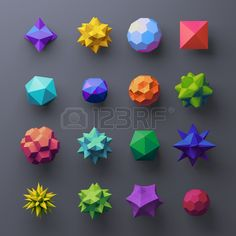 3d mixed geometrical complex faceted shapes, colorful objects Stock Photo