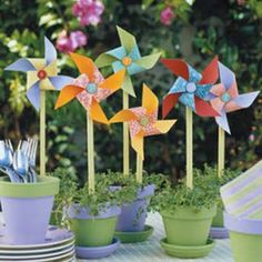 Pin wheels - these look lovely - decorating a herb pot.