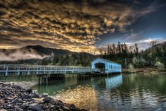 """Go Oregon Now """"New Dawn"""" at Lowell Covered Bridge (built in in Lowell, OR on the middle fork of the Willamette River ~ photo by Matt Macias Beautiful Homes, Beautiful Places, State Of Oregon, Country Scenes, Covered Bridges, Pacific Northwest, Vacation Trips, Places To See, River"""