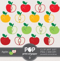 Apples Clip Art APPLE 16 cliparts set green by POPprintonpaper, $4.00