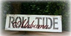 "Primitive Barnwood  Rustic Sign - ROLL TIDE Alabama  6""x18"" University of Alabama"