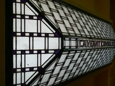 Glass window in the Townhall in Usquert (prov.Groningen), by Berlage, built 1928-'30. Amsterdam school. The Netherlands.