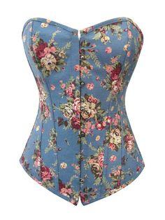 82f167f14a NEW PASTEL BLUE FLORAL COTTON BOHO BURLESQUE CORSET TOP (XL 12-14)  Amazon. co.uk  Clothing