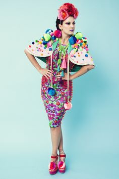 L•O•M Lycra bodycon dress and pom pom cape with Gaffy Gaffiero