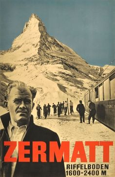Zermatt Ski Resort Switzerland, 1934 - original vintage poster by Emil Schulthess listed on AntikBar.co.uk
