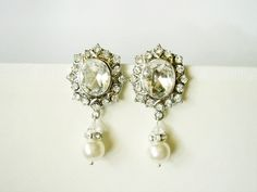 Iksha Rustic Large Statement Rhinestone And Pearl Bridal Earrings From Romantic…