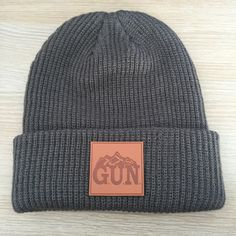 Leather MTN Patch Beanie by G.U.N. Apparel #mountains #beanie #winterhat #patch