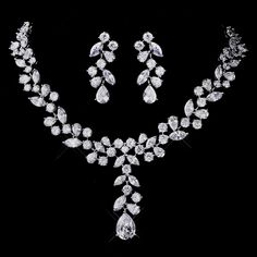 Silver Plated CZ Necklace and Earring Wedding Jewelry Set - gorgeous! Affordable Elegance Bridal -