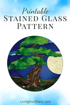 Printable Stained Glass Pattern - Make a peaceful stained glass panel featuring a Bonsai tree under a full moon.  This pattern is for a round panel measuring 14″ in diameter. You will receive a PDF file to download and print.   Stained Glass Pattern | Stained Glass Design | Stained Glass Bonsai | Bonsai Tree Pattern | Downloadable Pattern | PDF Pattern | Printable Pattern | Digital Pattern Download | Pattern For Sale via @livingsunglasss