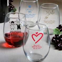 It' clear that these personalized stemless wine glass favors are a great way to inspire a truly memorable toast on your special day. Personalized Wine Glasses, Personalized Wedding Favors, Personalized Baby, Wine Glass Favors, Wine Glass Designs, Wedding Wine Glasses, Bridal Shower Favors, Wedding Favours, Party Favors