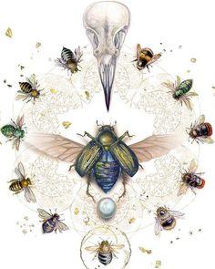 "An old favorite. ""Bits of Divinity"" . #skull #birdskull #ravenskull #scarab #insect #beautifulbugs #mythology #renewal #bees #bee #honeybee #bumblebee #honeybees #bumblebees #mandala #watercolor #painting #goldleaf #art"