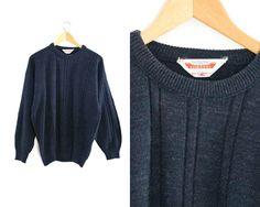 Vintage dark purple sweater. Basic pullover. by LiveToLiveVintage