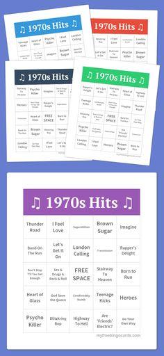 1970s music hits bingo