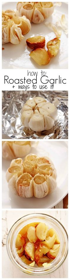 to Roast Garlic - bake a whole bulb until each clove is butter-soft, sweet and nutty. Check out our list of ways to use it!How to Roast Garlic - bake a whole bulb until each clove is butter-soft, sweet and nutty. Check out our list of ways to use it! Vegetable Dishes, Vegetable Recipes, Cooking Recipes, Healthy Recipes, Cooking Tips, Garlic Recipes, Cooking Games, Cooking Okra, Easy Recipes