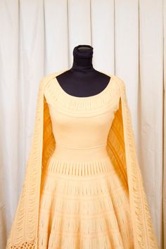 1950's Outfit Set // Senorita Look Yellow Knit Full Skirt Top and Skirt with Shawl