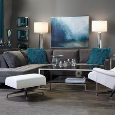 Take a Seat: our most chic sofas & sectionals create ideal lounging conditions. Teal Living Rooms, Living Room Turquoise, Living Room Decor On A Budget, Living Room Color Schemes, Living Room Colors, Home Living Room, Living Room Furniture, Living Room Designs, Grey Furniture