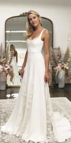 27 Awesome Simple Wedding Dresses For Cute Brides - Getting married - . 27 Awesome Simple Wedding Dresses For Cute Brides - Getting married - Vera Mont Blumenkleid Vera MontVera Mon. White Beach Wedding Dresses, Backless Lace Wedding Dress, Western Wedding Dresses, Long Wedding Dresses, Bridal Dresses, Maxi Dresses, Modest Wedding, Simple Elegant Wedding Dress, Satin Wedding Dresses