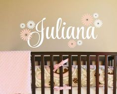 Fancy Script Name wall decal - baby girl personalized vinyl name includes flowers - Nursery Wall Decal