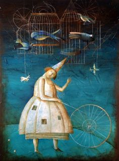 """""""Blue Circus"""" oil on canvas by YEVGENIA NAYBERG via leftcoastgalleries.com"""