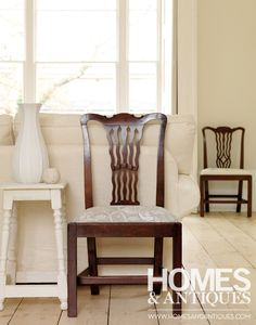 20th-century mahogany chairs. Re-invent antique dining chairs by covering seats with new fabric.