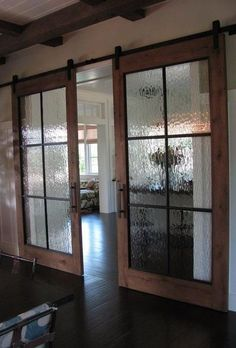 Barn doors with semi-semi-translucient glass, perfection.