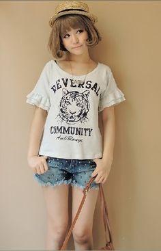 Cute Tiger Printing Fungus Sleeve T-shirt White