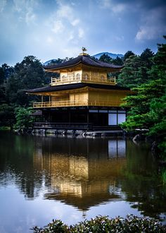 Kinkaku-ji #japan #kyoto. I was there and it really does glimmer like this! Amazingly full of people. Entire Japanese schools visited like field trips, while I was there.