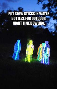 Outside bowling at night