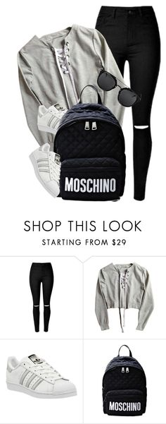 """Untitled #3636"" by monmondefou ❤ liked on Polyvore featuring adidas and Moschino"
