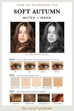 If you have just discovered that you are a Soft Autumn in the seasonal colour analysis, find out which colours look best on you. Soft Autumn Makeup, Soft Autumn Color Palette, Fall Makeup, Soft Summer Palette, Soft Autumn Deep, Warm Autumn, Colors For Skin Tone, Neutral Skin Tone, Seasonal Color Analysis