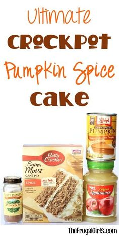 Ingredients} - The Frugal Girls Crockpot Pumpkin Spice Cake Recipe! The delicious flavors of Pumpkin and Spice make this easy Crock Pot Cake the ultimate in cozy Fall recipes! Just throw it in the Slow Cooker and walk away! Slow Cooker Desserts, Crock Pot Desserts, Cooker Recipes, Crockpot Recipes, Apple Desserts, Fall Desserts, Dump Cake Recipes, Crockpot Dishes, Healthy Recipes