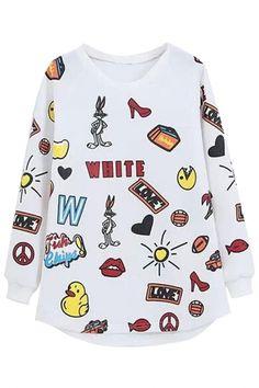 The sweatshirt featuring cartoon animal pattern. Printed Sweatshirts, Hoodies, Fashion Sweatshirts, Street Style Store, Casual, Cute Outfits, Graphic Sweatshirt, Tees, Long Sleeve