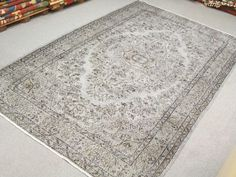 Vintage Oushak Handmade Pale GREY Color Overdyed Rug , Faded Authentic Patterns
