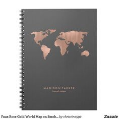 Faux Rose Gold World Map on Smoky Gray Spiral Notebook