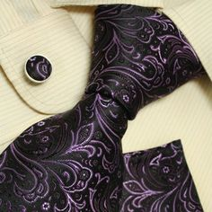 Amazon.com: Black tie designer for men Purple Paisleys boyfriend gift Italian style ties cufflinks set H5116 Black: Clothing