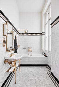 Callas House hotel opens inside a storied Budapest landmark - Bathroom interior goals. Callas House hotel opens inside a storied Budapest landmark. Classic Bathroom, Modern Bathroom, Small Bathroom, Master Bathroom, Vintage Bathrooms, Mirror Bathroom, Bathroom Fixtures, Art Deco Bathroom, Bathroom Trends