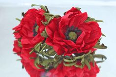 Silk Scarlet Poppies:Fabric Poppy for Hair,Accessory,Brooch,Headband,Bracelet,Wedding,Clip