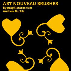 art nouveau brushes for Photoshop curved white black embellishments CC CS6 CS5