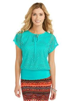 Cato Fashions Crochet Layered Look Top-Plus #CatoFashions Love it!!!! #CATOSUMMERSTYLE